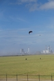 Launch of the kite with power plant in the background